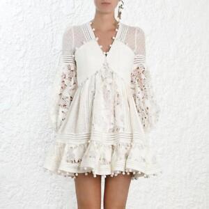 Womens-Runway-White-Ruffle-Lace-Cutout-Dot-Tassels-Dresses-Zimmerman-Style-Beach