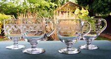 4 LATE VICTORIAN / EARLY EDWARDIAN GREEK KEY ETCHED CUSTARD CUPS