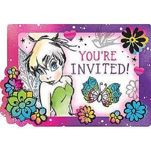 disney tinker bell birthday party invitations 8 count ebay