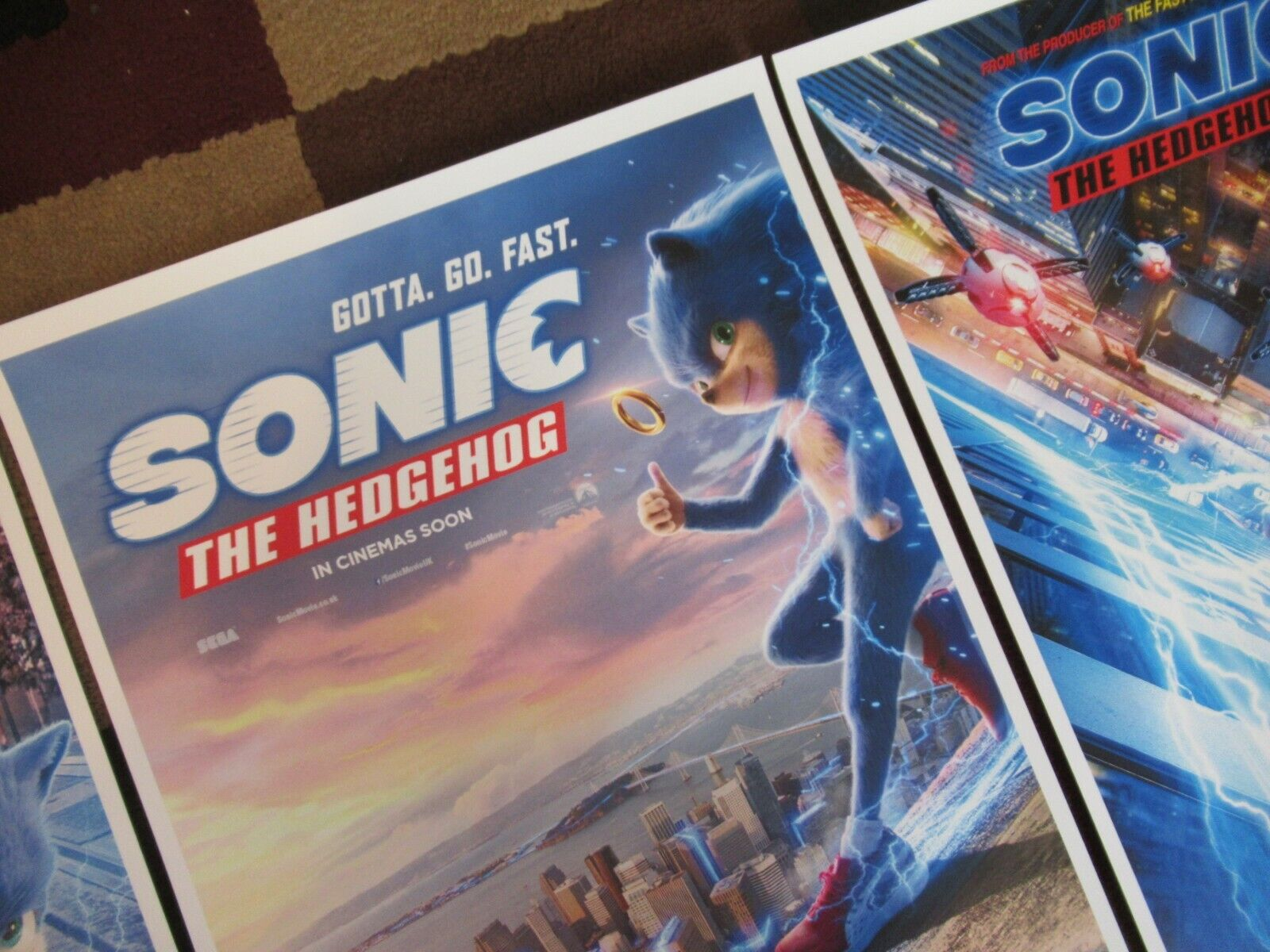 """Sonic the Hedgehog Movie Collector/'s Poster Prints Set of 3 11/"""" x 17/"""""""
