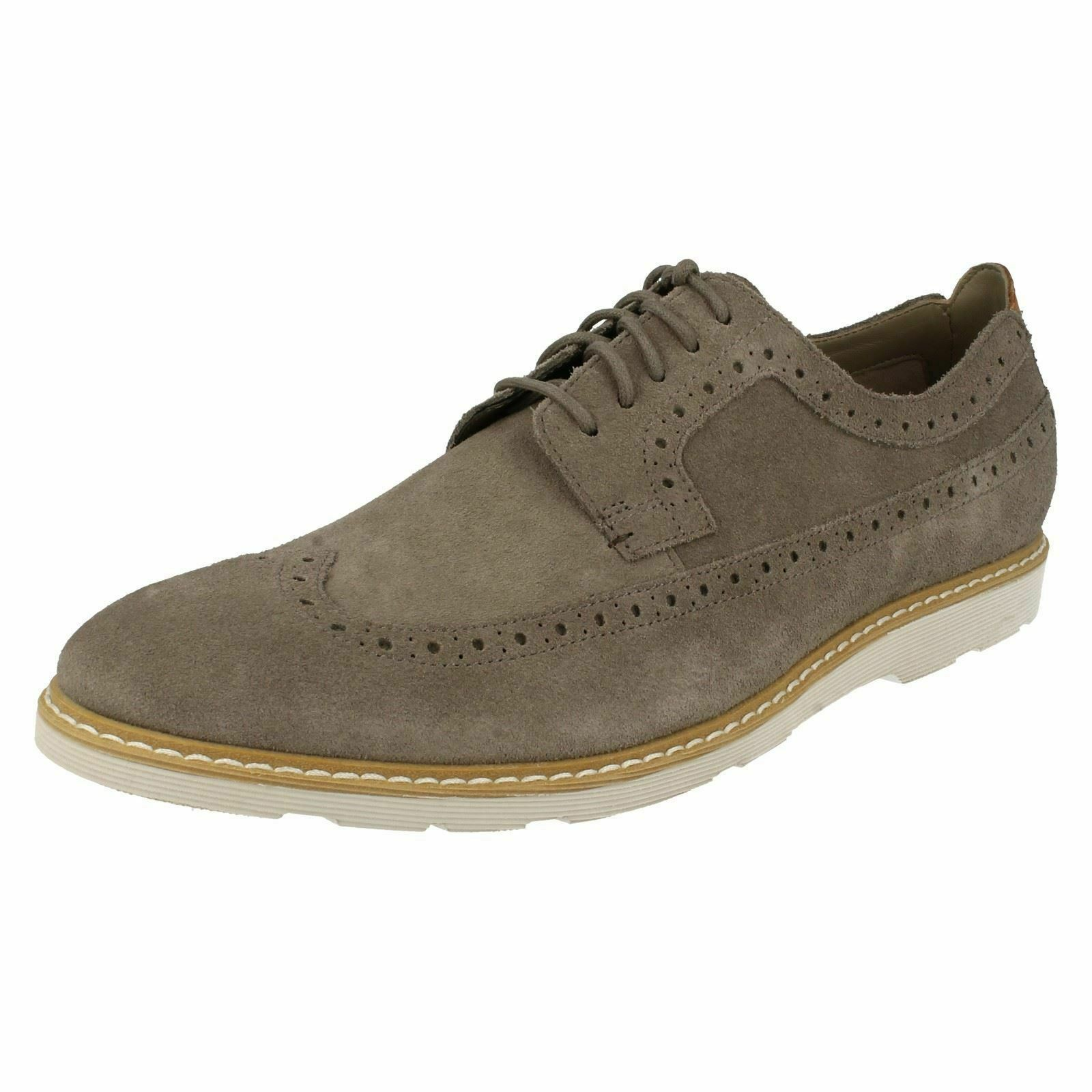 MENS CLARKS GAMBESON DRESS CASUAL LEATHER LIGHTWEIGHT LACE UP BROGUE SUEDE SHOES