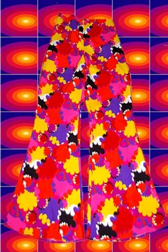 16 ✪ 60er 70er años hippie señores golpe pantalones Boney M rojo naranja patrón talla 48 50