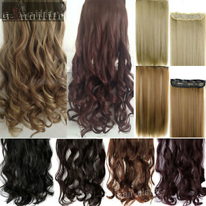 100-Real-Thick-Full-Head-Clip-in-Hair-Extensions-5clip-Natural-Long-as-remy-SNL