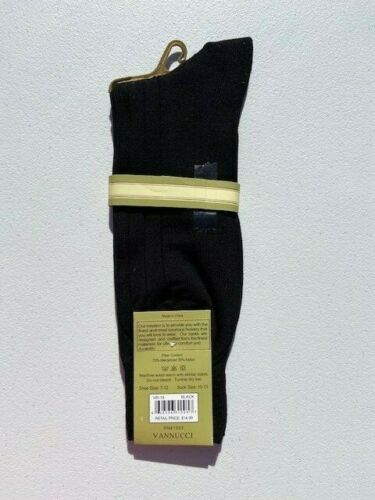 Vannucci Couture Imperial Mens Cotton Dress Socks Solid Colors Black Navy Char