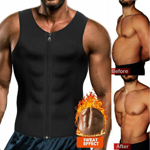 Mens Neoprene Sauna Waist Trainer Vest Zipper Weight Loss  Sweat Body Shaper M9