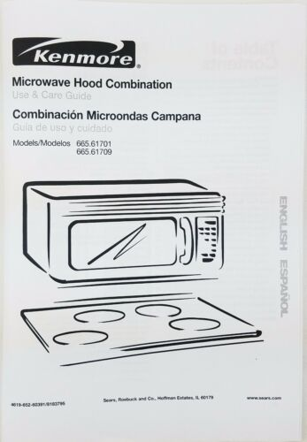 Kenmore Microwave Oven Owners Manual 665 61701 61709