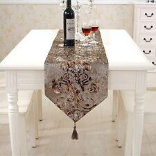 Modern Floral Hemstitch Tapestry Table Runner 72 Inch Approx Velvet, New,  Free S
