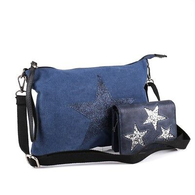Glitzuer Stern Umhänge Tasche Cross Bag Shopper Clutch Canvas Stoff m. Geldbörse