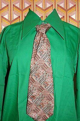 A315✪ Original 70er Jahre Kult Retro Krawatte Hippie Muster Beige Orange Mint