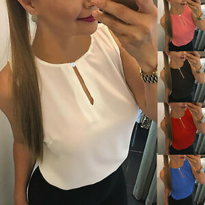 Summer-Women-039-s-Solid-O-neck-Sleeveless-Tank-Tops-Casual-T-Shirts-Vest-Blouse-ER