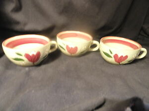 3-Stangl-Magnolia-Coffee-Cups-No-Saucers-Mint