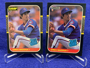Greg Maddux 1987 Leaf & Donruss Rookie Baseball Card Rated Rookie Chicago Cubs