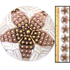 Reduced! 22mm Vintage Czech Glass PURPLE Nailhead Gold Polka STAR Buttons 6pc