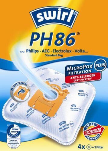 4 Staubsaugerbeutel Swirl geeignet für Philips FC 8322//09 PowerLife