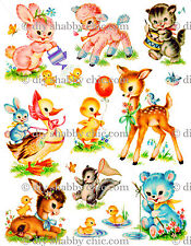 A6 EASTER ANIMALS CHILDRENS KIDS DECAL SHABBY CHIC IMAGE TRANSFER VINTAGE LABELS