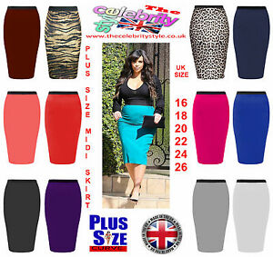 Women Plus Size Midi Skirt Bodycon Stretch Jersey Tube Pencil ...
