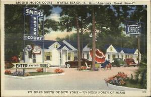 Myrtle-Beach-SC-Smith-039-s-Motor-Court-Linen-Postcard