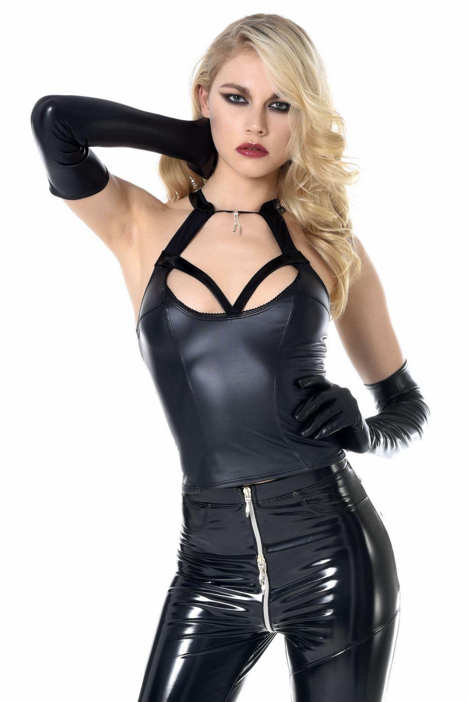 ♥ TOP COURT SEXY WETLOOK schwarz BIJOU ♦ GRACE PATRICE CATANZARO ♦ du 36 au 46 ♥