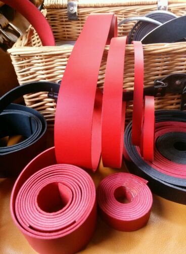 """Leather Strap Red 3mm Leather Craft 50/"""" long belt making Any width"""