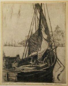 Circa 1930/'s Original Sailboat Etching
