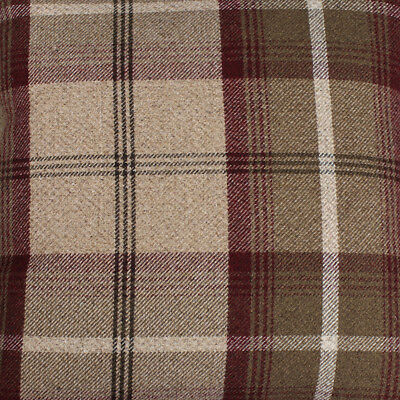 LILAC CREAM CHECK Balmoral Wool Effect Tartan Upholstery Curtain Fabric