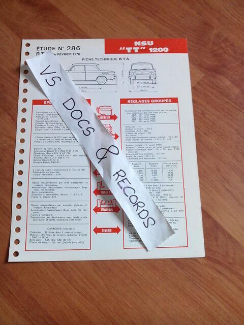FICHE TECHNIQUE RTA ETUDE N° 286 NSU TT 1200 (DEF)