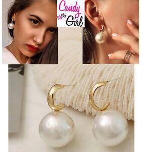 Big Pearl Drop Gold Fashion Earrings