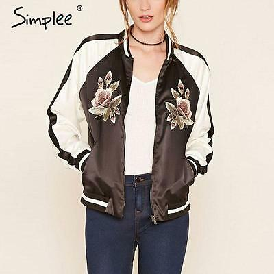 Simplee Satin Floral Embroidery Bomber Jacket Autumn Winter Women Baseball Coat