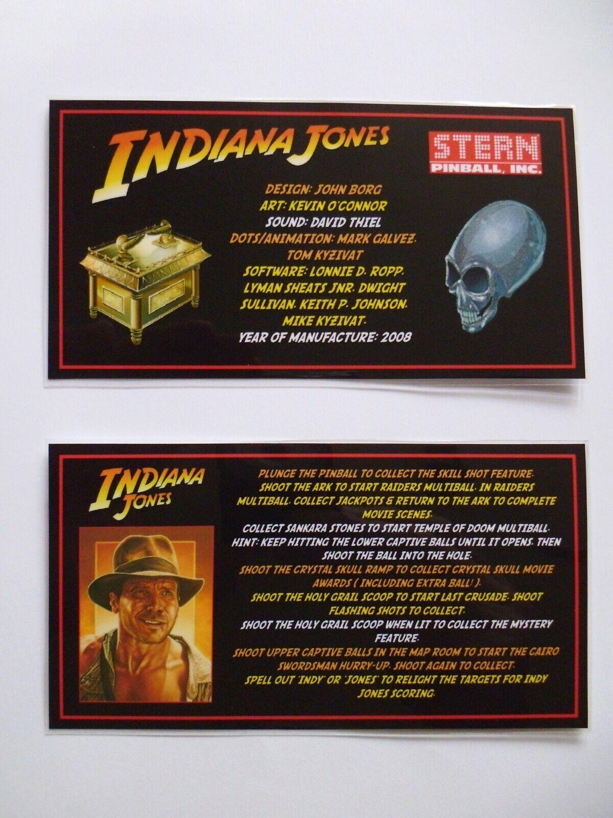 * * 'INDIANA JONES' Stern 2008 Custom Instruction/Apron Cards * * (New)