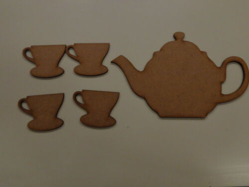 Tea for 4 Pack Wooden Teapot and 4 Cups Blanks MDF Embellishments Craft