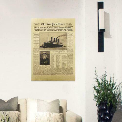 The New York Times History Poster Titanic Shipwreck Newspaper O Retro Paper S1X1