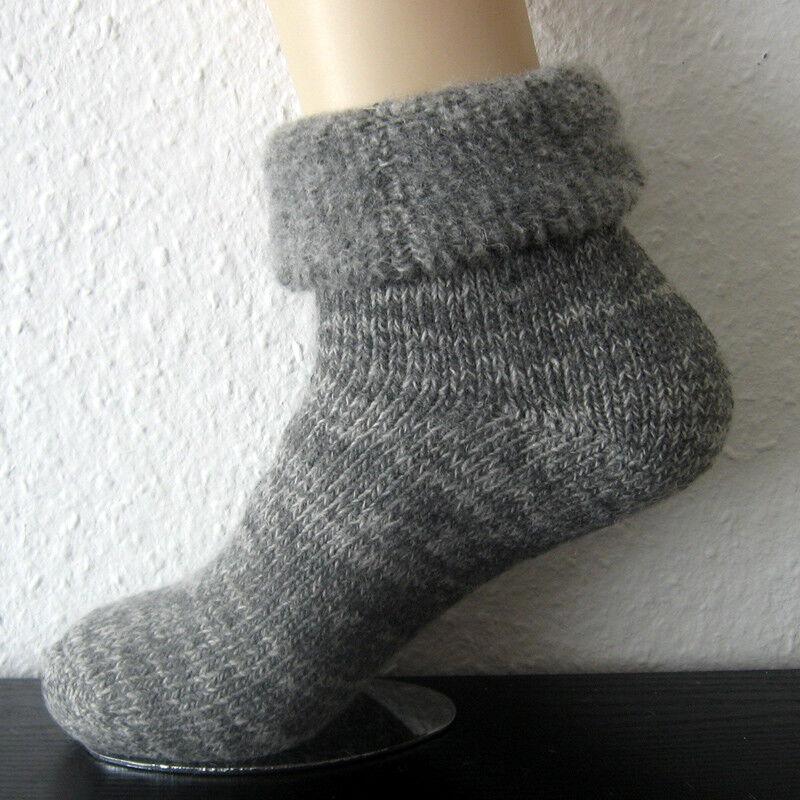 Herren Thermo Wollsocken 63% Wolle sehr warm Umschlag grau blau und braun 39-50