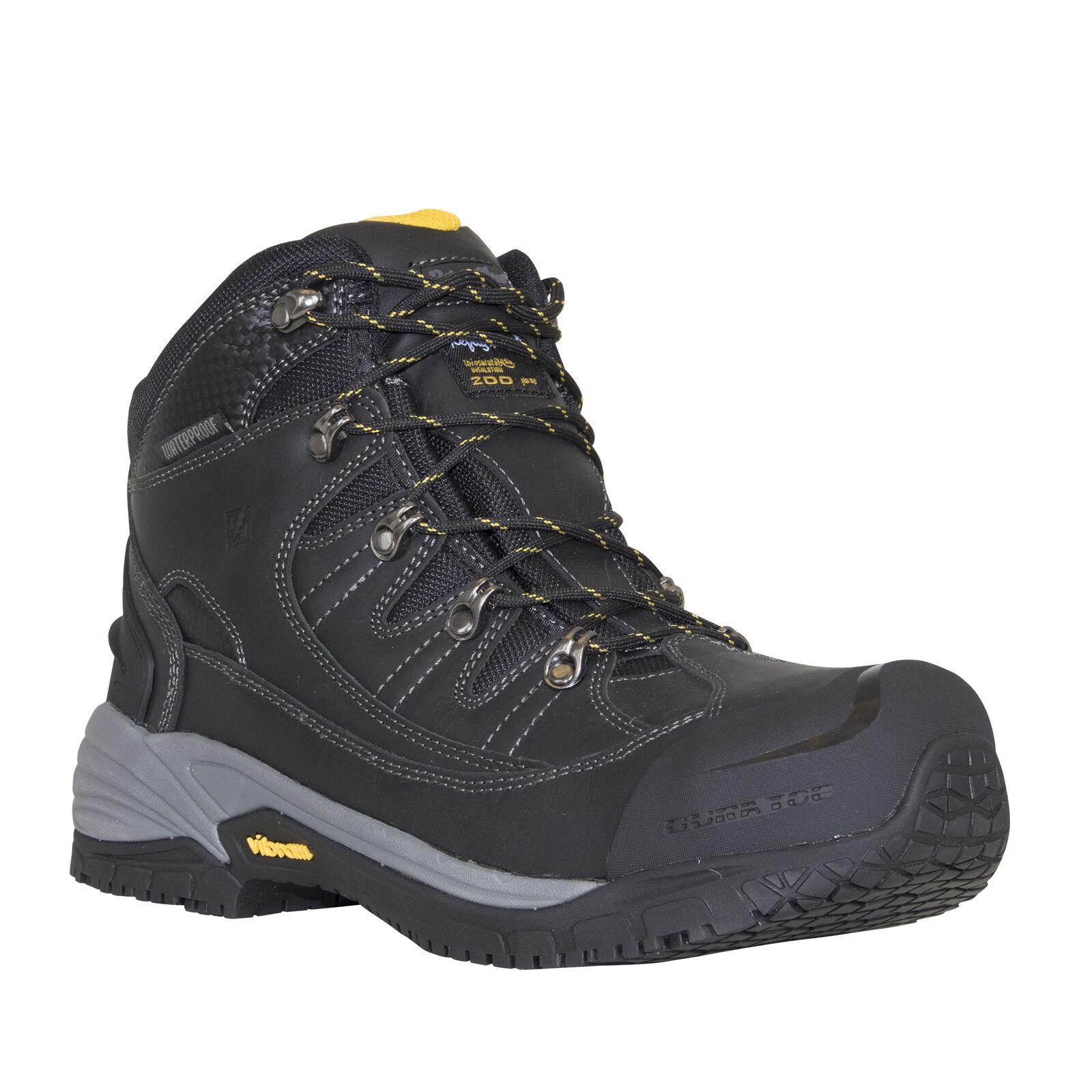 RefrigiWear Men's Iron Hiker Waterproof Lightweight Work Boots, Black