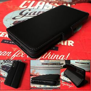 Engineered-Low-Profile-Leather-Wallet-Book-Case-Black-Sony-Xperia-XA3-ULTRA