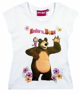Ninas-Ninos-Oficial-Masha-y-el-Oso-Blanco-Manga-Corta-Camiseta-Top
