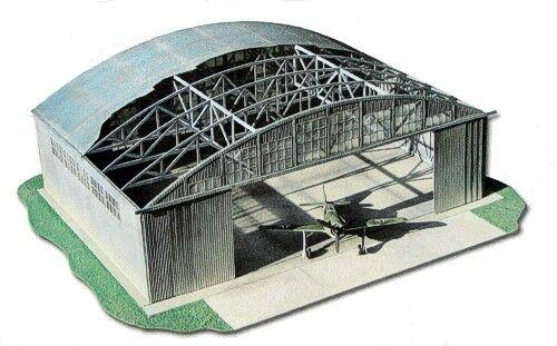 WWII Airforce Hangar 1 32 scale Model Kit (LASERCUT SET) Dimensions; 84cm x 64cm