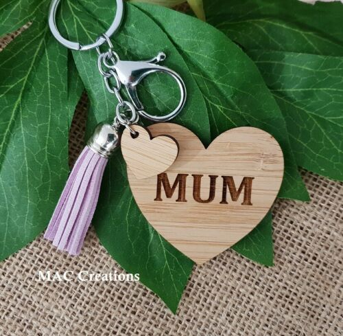Mum Mummy Heart Acrylic Wooden Bamboo Key Ring Chain Mother/'s Day Gift Keyring