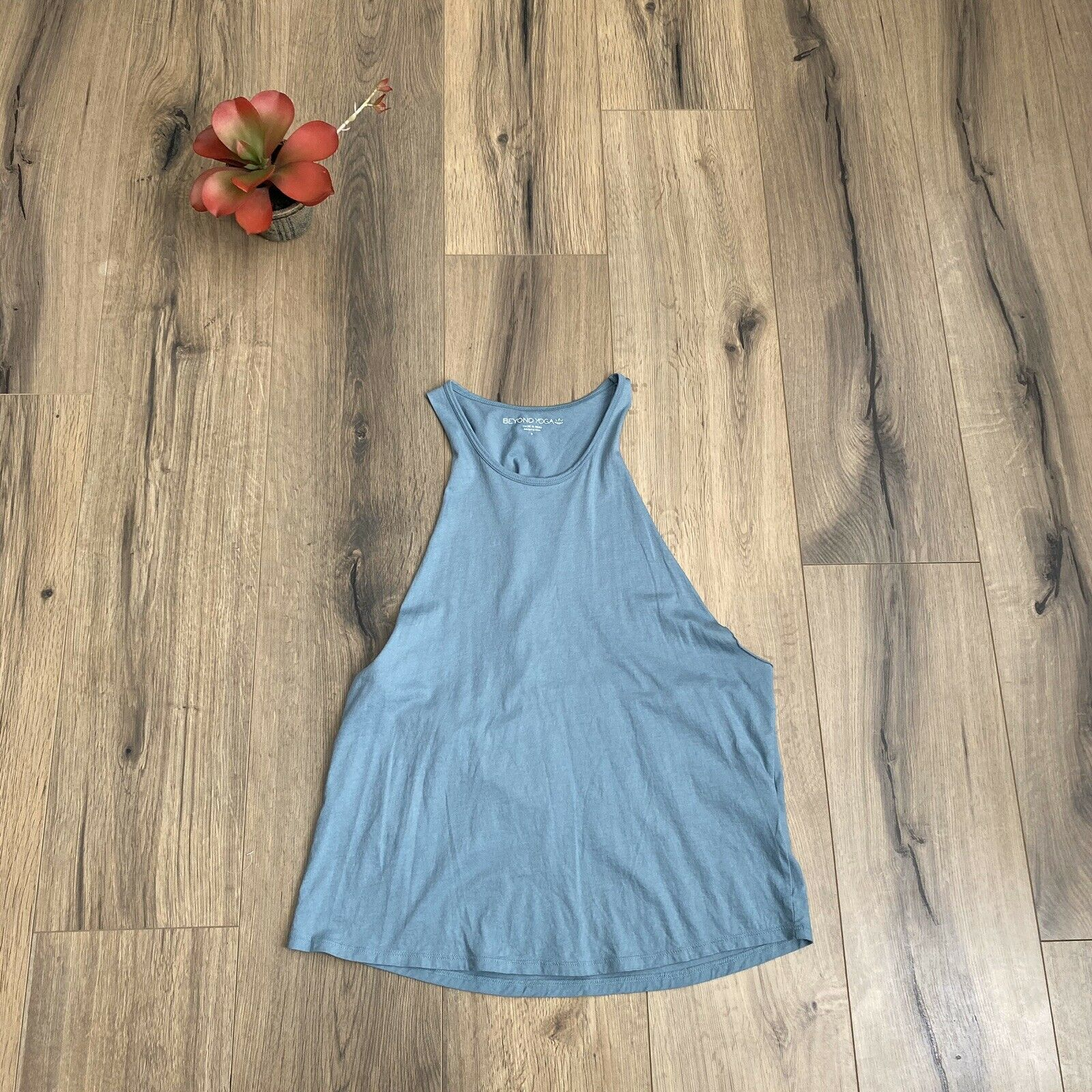 Beyond Yoga Small Blue Crush Cotton Round The Twist Tank Top Apparel EUC $58