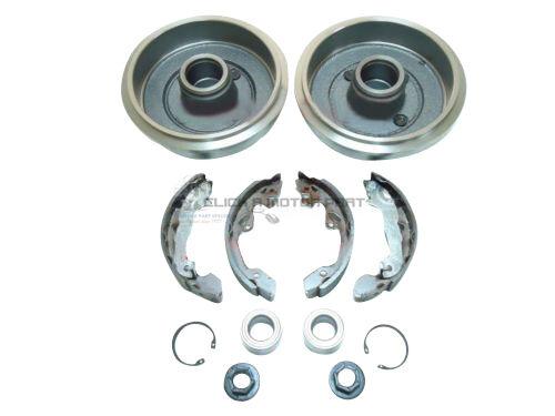 Ford Focus Mk1 Trasero 2 los tambores de freno Zapatos Set de 2 ruedas rodamientos y 2 cilindros Nueva