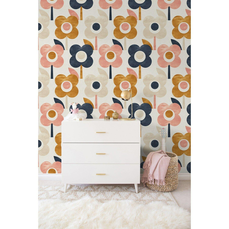 Scandinavian colorful flowers removable wallpaper self adhesive watercolor