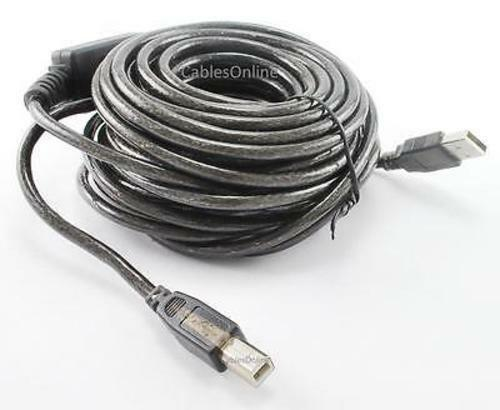 33ft USB 2.0 Type-A Male to Type-B Male Active Cable Booster USB2-AB33