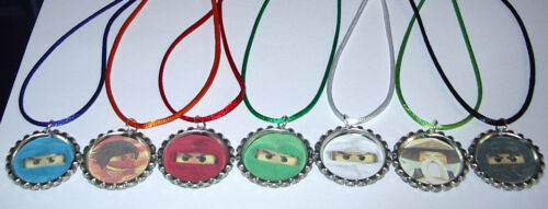 *14 LEGO NINJAGO NECKLACE WITH MATCHING COLOR CORDS BIRTHDAY PARTY FAVORS