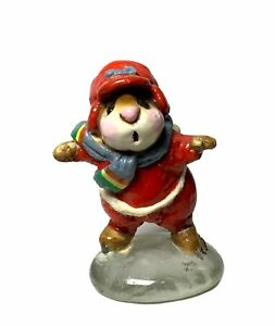 """Wee Forest Folk: """"Skater Mouse"""" Red, Collectable, 1980, RARE Glass Bottom!, MS-8"""