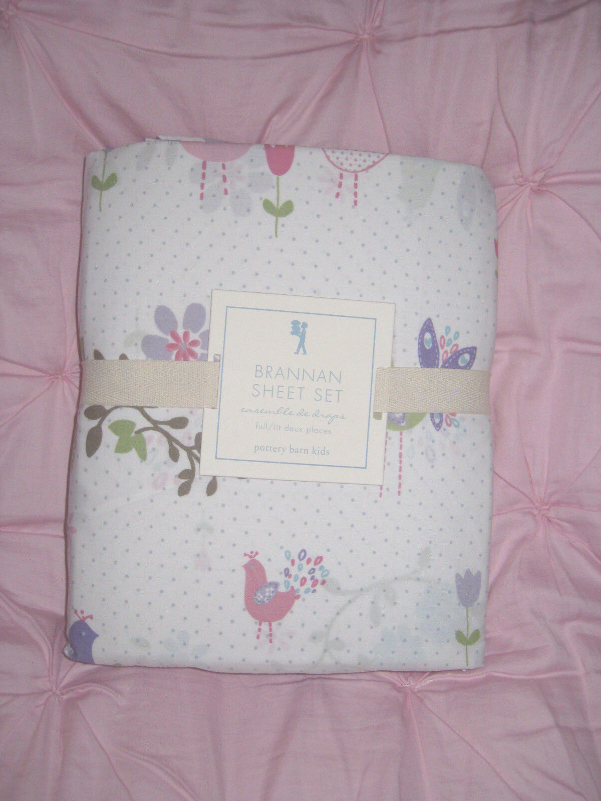 Nouveau POTTERY BARN Kids Brannan Fleur Lavande Bird FULL SHEET SET rare à trouver