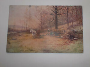 Country Life CUTTING TIMBER Horses Vintage Hildesheimer Postcard 1905 Selly Oak