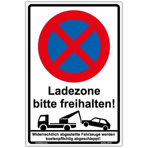 "Hinweisschild 450x300 mm /""Ladezone bitte freihalten/"" Aluminiumverbundplatte 3mm"