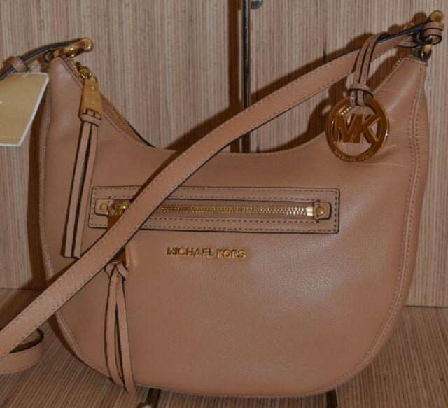 8d0ef95de991 Michael Kors Rhea Zip Small Leather Messenger Bag Suntan Beige Brown  30h4gezm1l