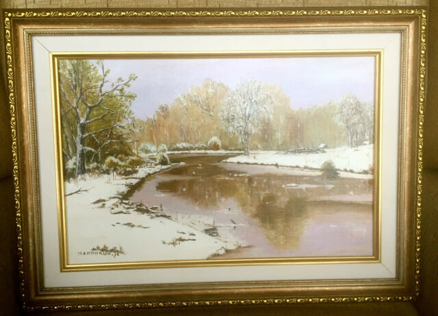 Painting of a Winter Landscape. signed. #2