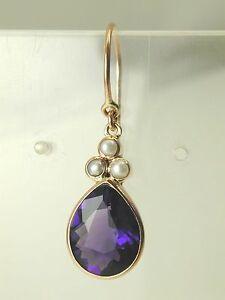 Amethyst-amp-pearl-tear-drop-earrings-9-carat-rose-gold-french-hook