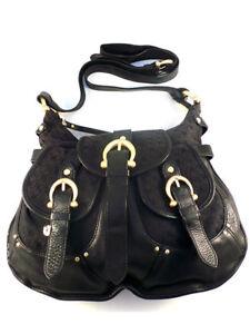 9522f5c08448 Details about Coccinelle Women's Black Leather and Canvas Shoulder Bag